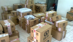 Boxes in Courier Serivce Office